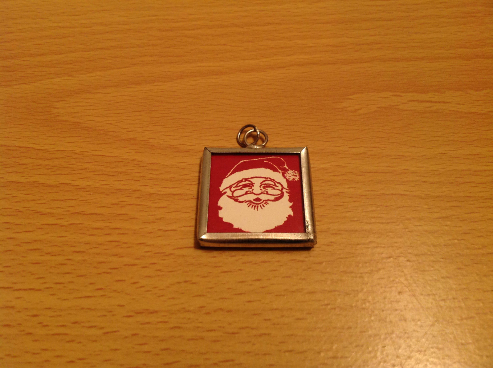 Charm Present Tie On Versatile Reversible Tag Metal Glass Tag Santa and Believe