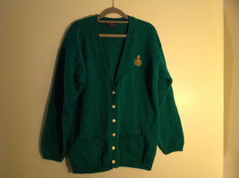 Charter Club Green Button Up Long Sleeve Sweater 2 Front Pockets Size Large