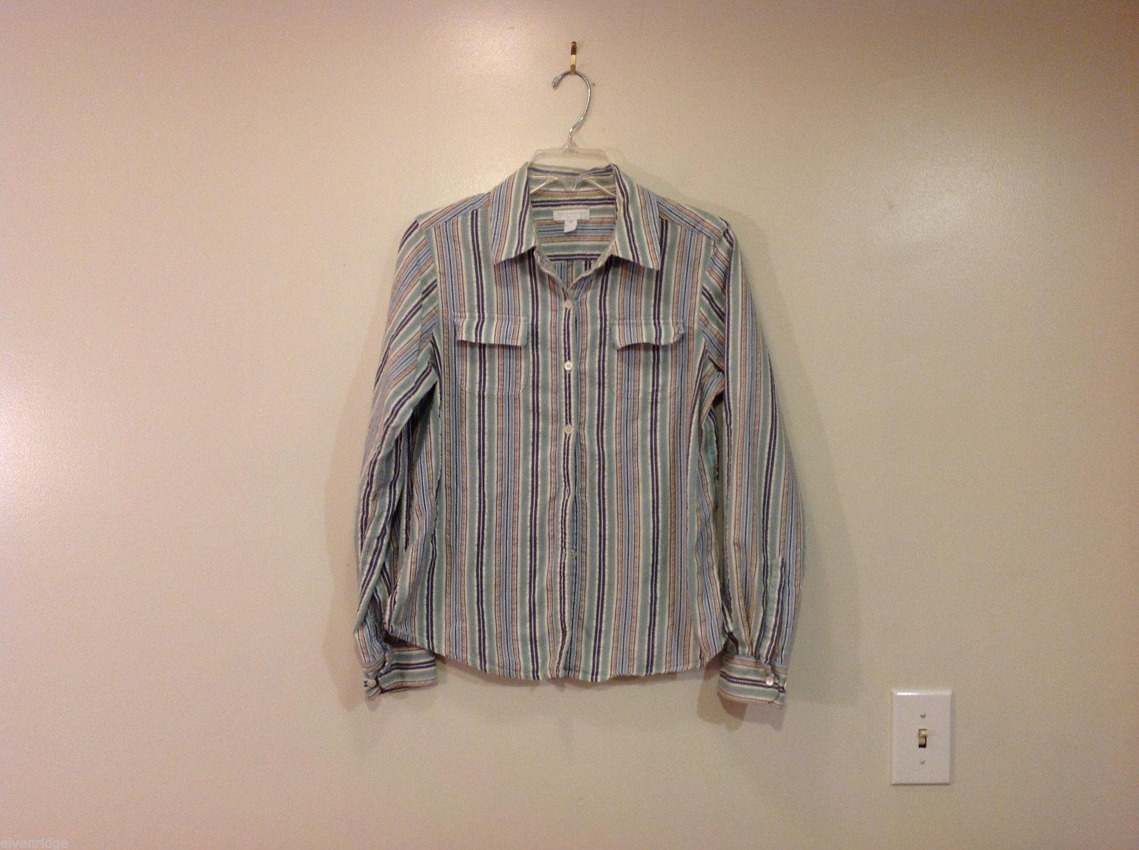Charter Club Petite Multi Striped 100% Cotton Blouse Buttons up Shirt, Size 12P