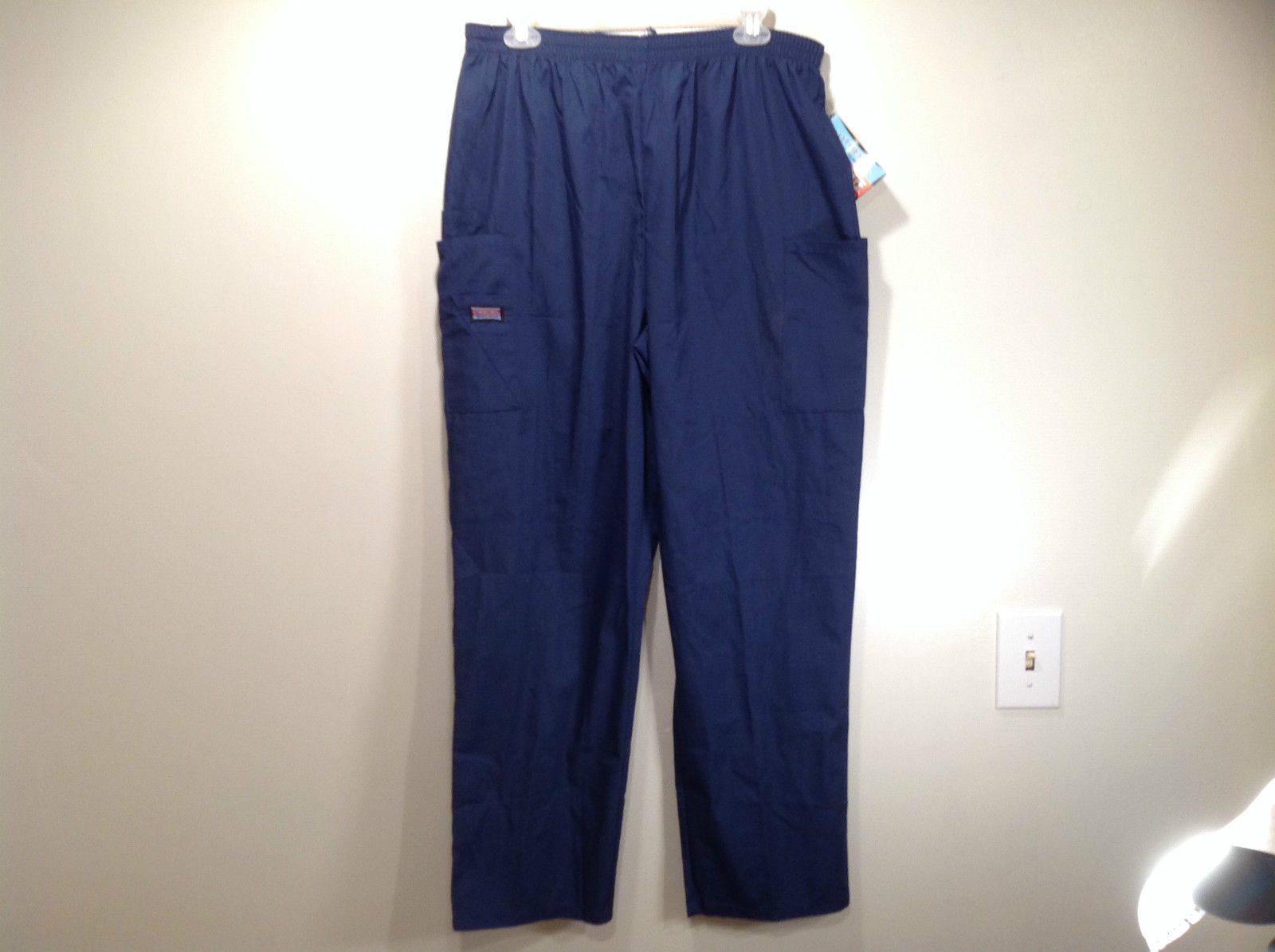 Cherokee Workwear Dark Blue Uniform Work Pants Stretchy Waist Size L NEW