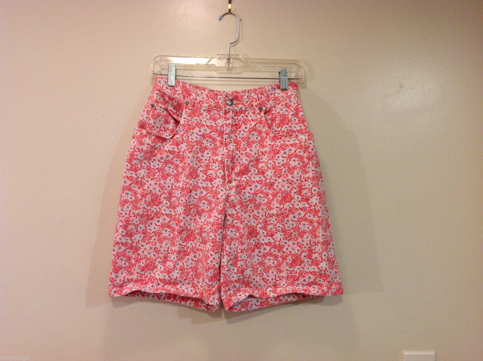 Chaus Sport Pink Flowers Jean 100% Cotton Shorts with Pockets, Size 10
