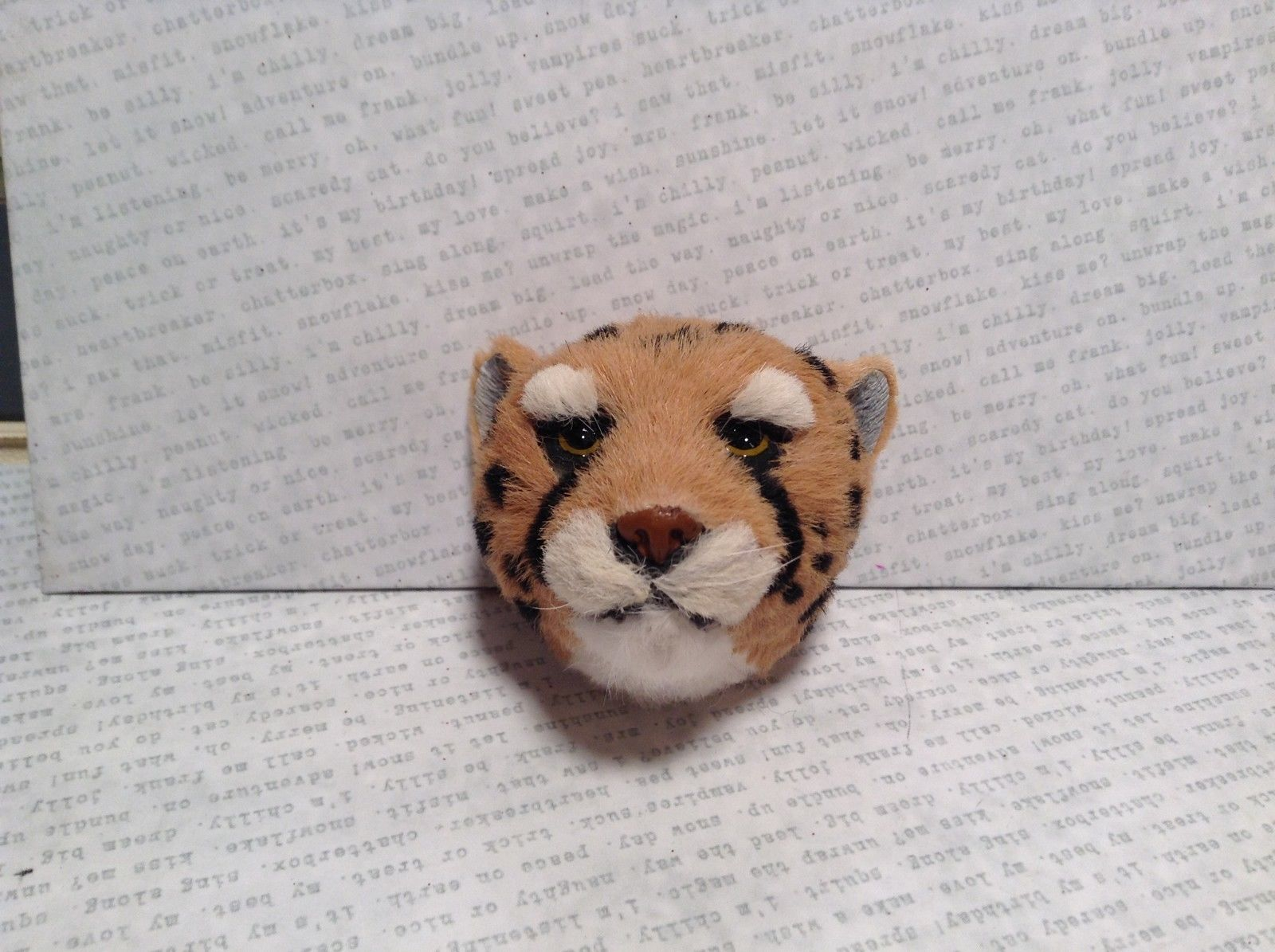 Cheetah Head Mini Refrigerator Magnet Recycled Rabbit Fur