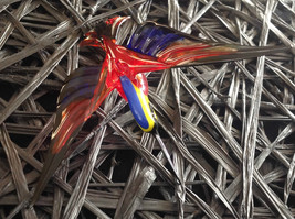 Blue, Red, Yellow Black Hand Blown Hummingbird Bee eater Window Tree Ornament image 3