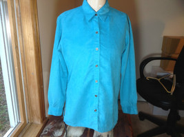 Chico's Bright Blue Suede Long Sleeve Button Up Shirt  Buttons on Cuffs Size 0
