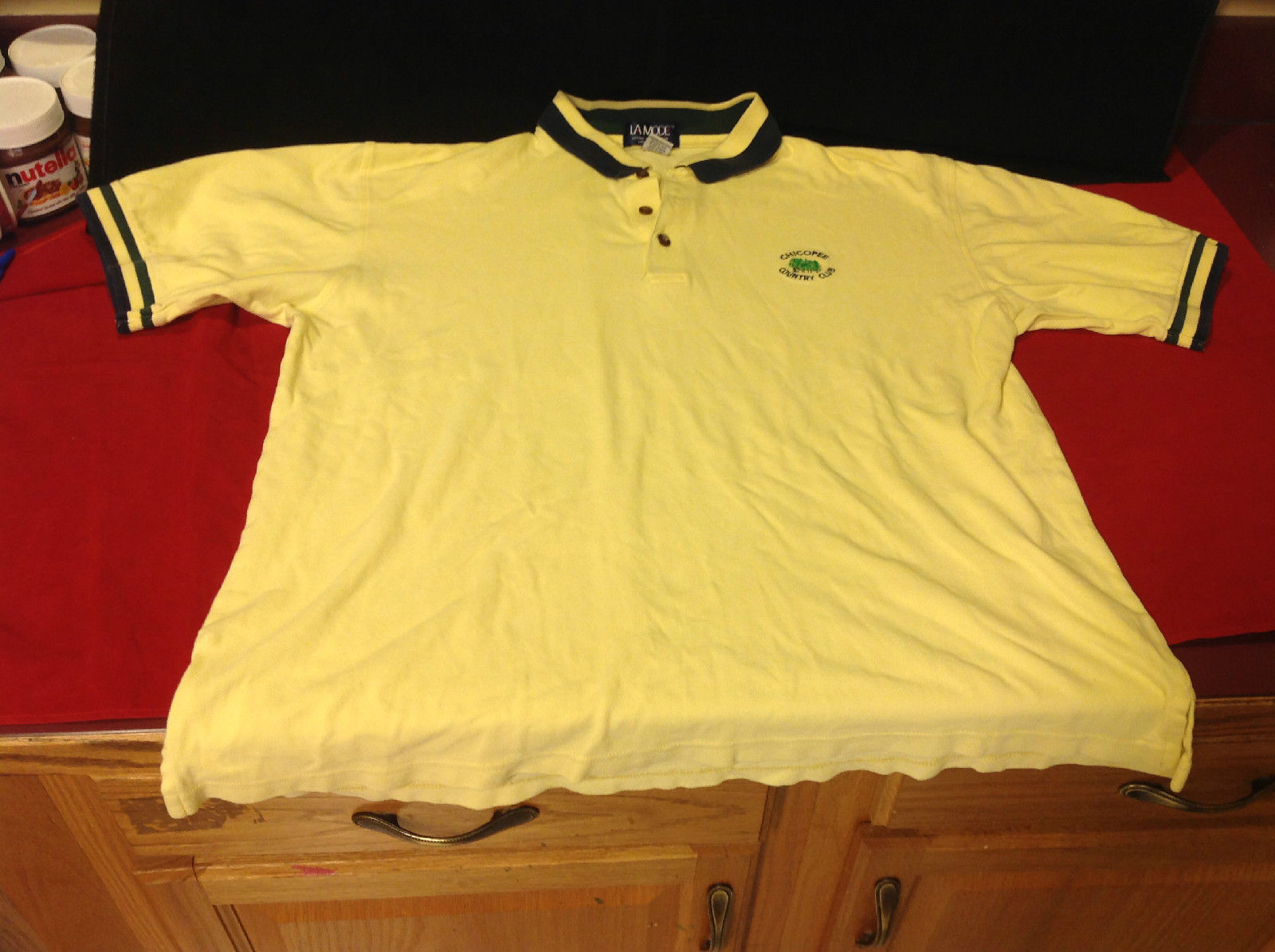 Chicopee Country Club Mens Polo Shirt 3 button collar LaMode Size Large