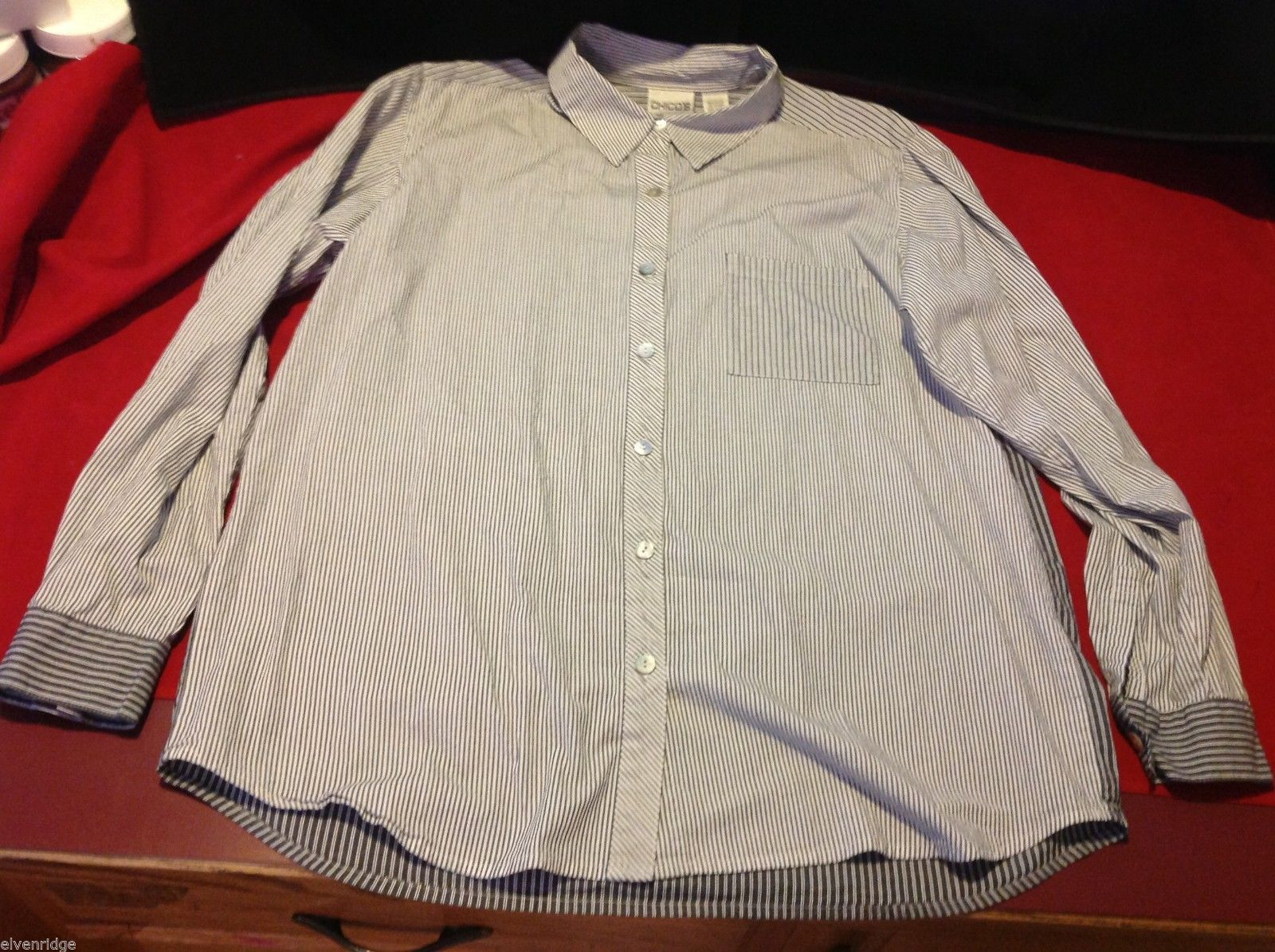 Chico's Size 2 Long Sleeve blouse with stripes in blue white accents