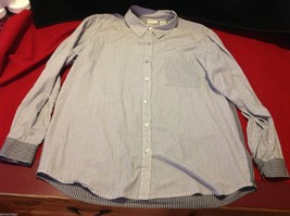 Chico's Size 2 Long Sleeve blouse with stripes in blue white accents image 1