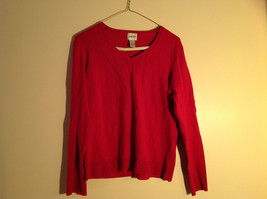 Chico's Red V-Neckline Long Sleeve Sweater Very Soft Material Size 1