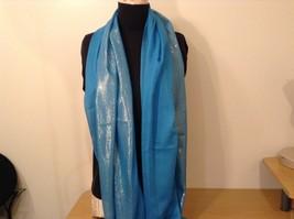 Blue Seren scarf with metallic thread accents  on half segment image 2