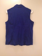 Blue Sleeveless Button Up V Neck Collared Shirt Stretch 212 Brand Size Large image 3