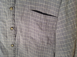Blue Square Design White Button Long Sleeve Collared Shirt Club Room Size XL image 2