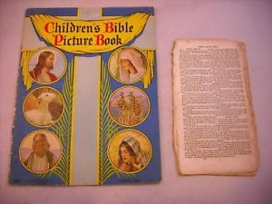 Children's Bible Picture Book 1955 with old bible pages