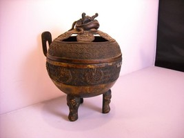 Chinese Metal Incense Burner w Dragon lid vintage