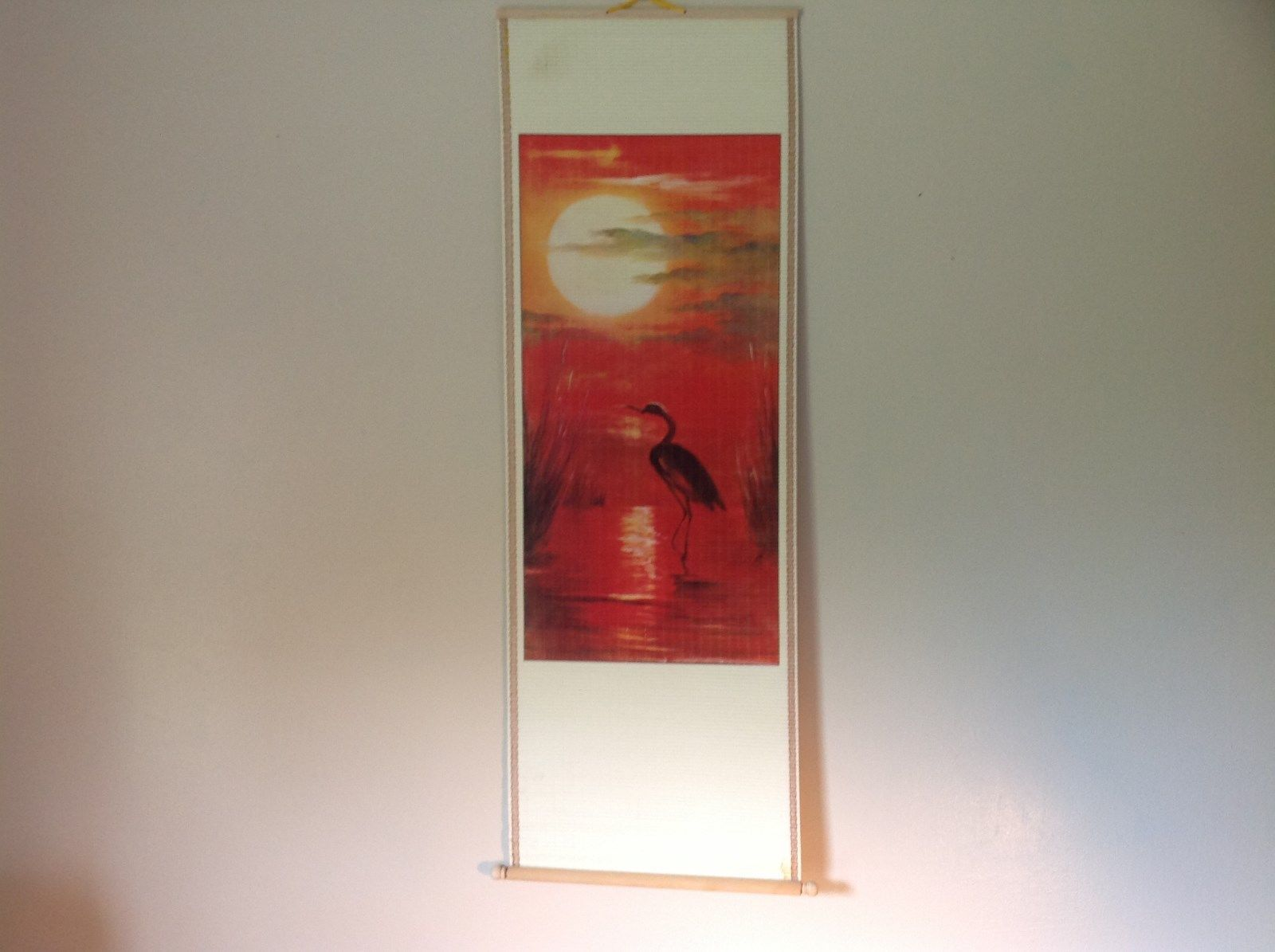 Chinese Traditional Wall Scroll Crane and Red Sunset 100 Percent Wood Pulp