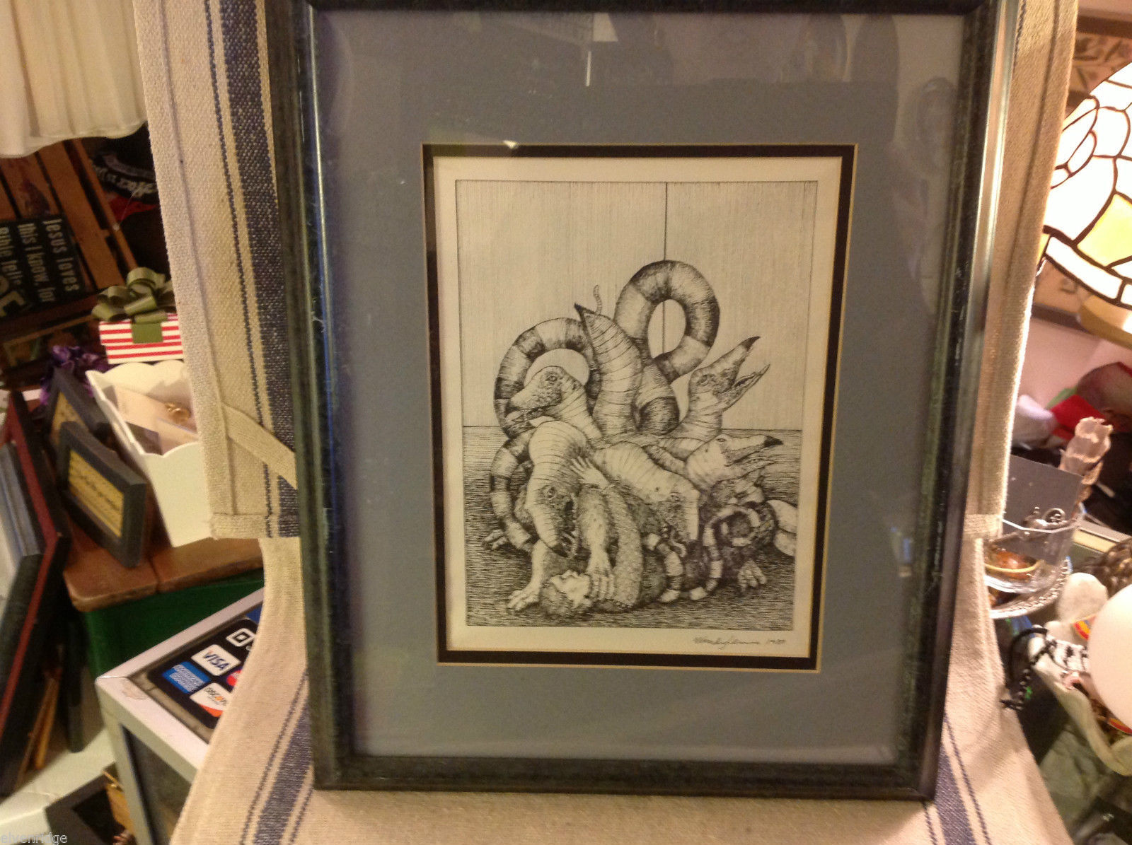 Children's book illustrator Wendy Lewis pen and ink mythical creature in fight