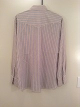 Blue Tan Stripes Wrangler Long Sleeve Button Up Shirt 2 Chest Pockets Size Large image 5
