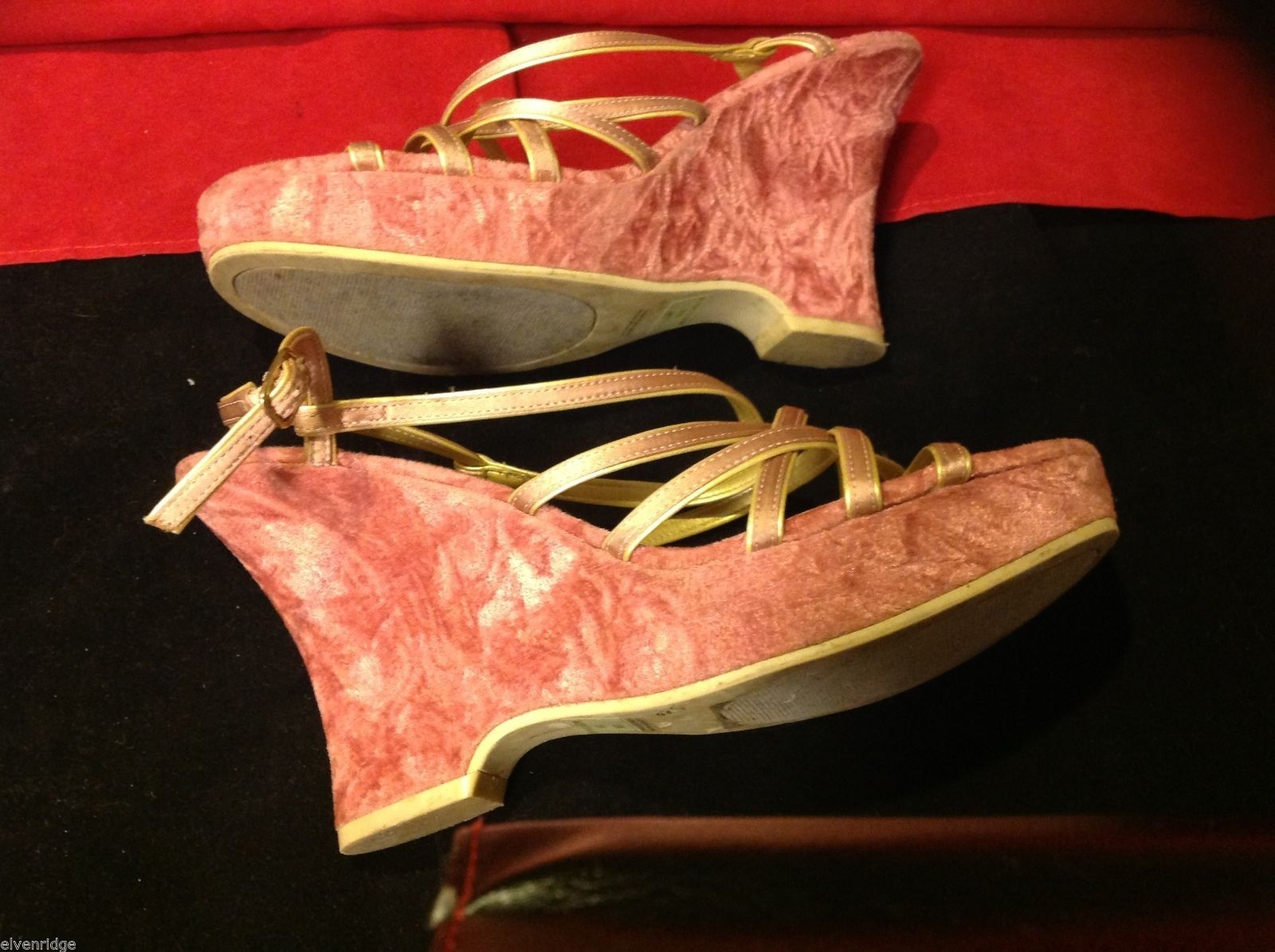 "Chili's pink shoes platform heels crushed velvet size 10 M w 6"" heel"