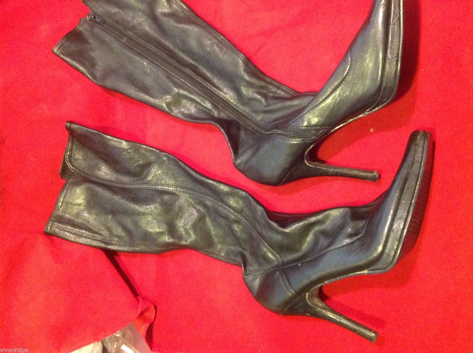Chinese Laundry leather knee high dress boots size 8 1/2 8.5 with heels