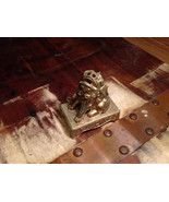 Chinese Guardian Foo Dog Statuette Brass Tarnished Antique Incense Holder - $39.99