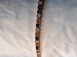 Blue White Stone Rose Gold Small Square Design Bracelet Lobster Clasp Closure image 2