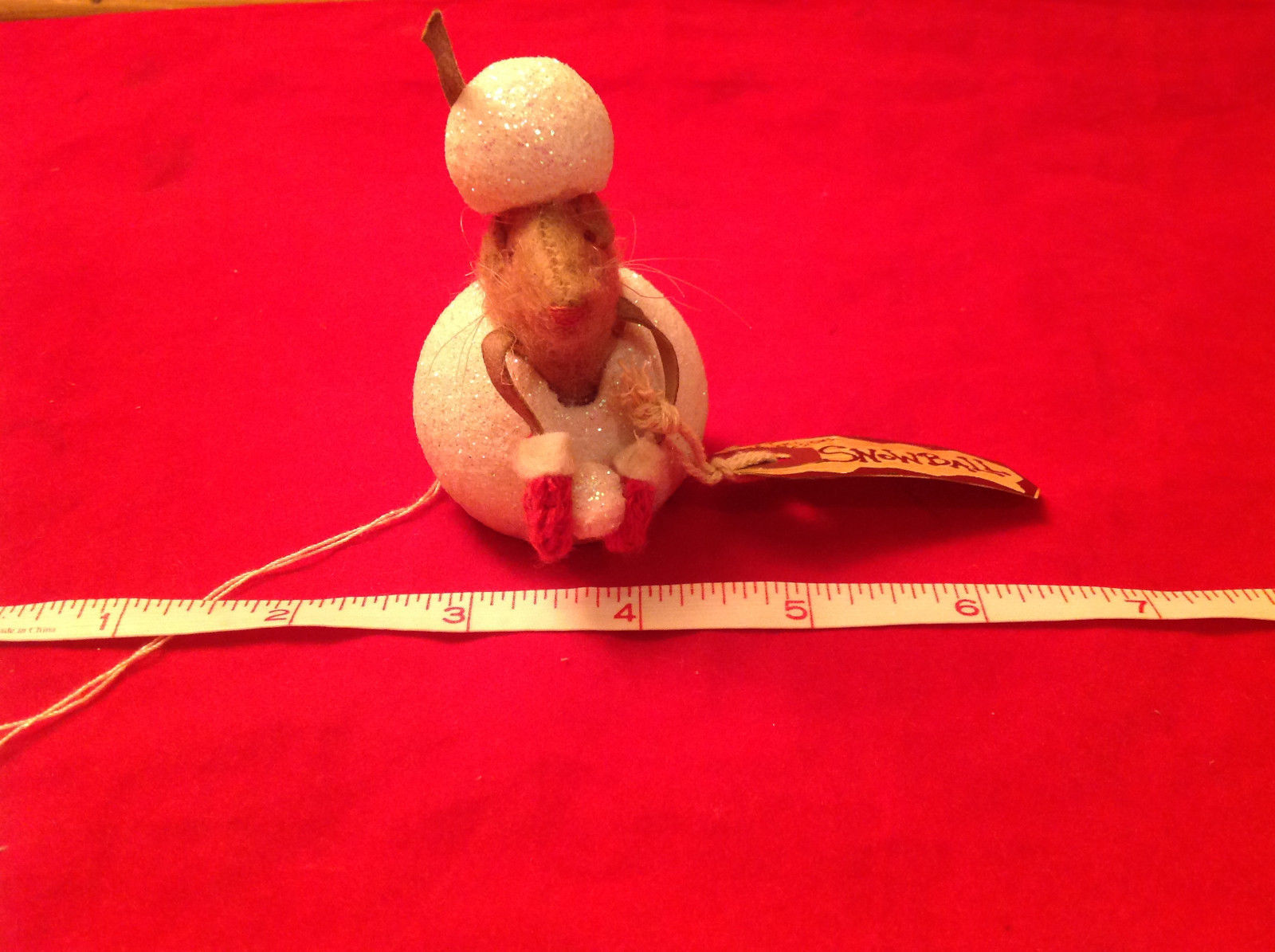 Christmas Ornament Mouse with Red Gloves Holding Snowball Primitives by Kathy