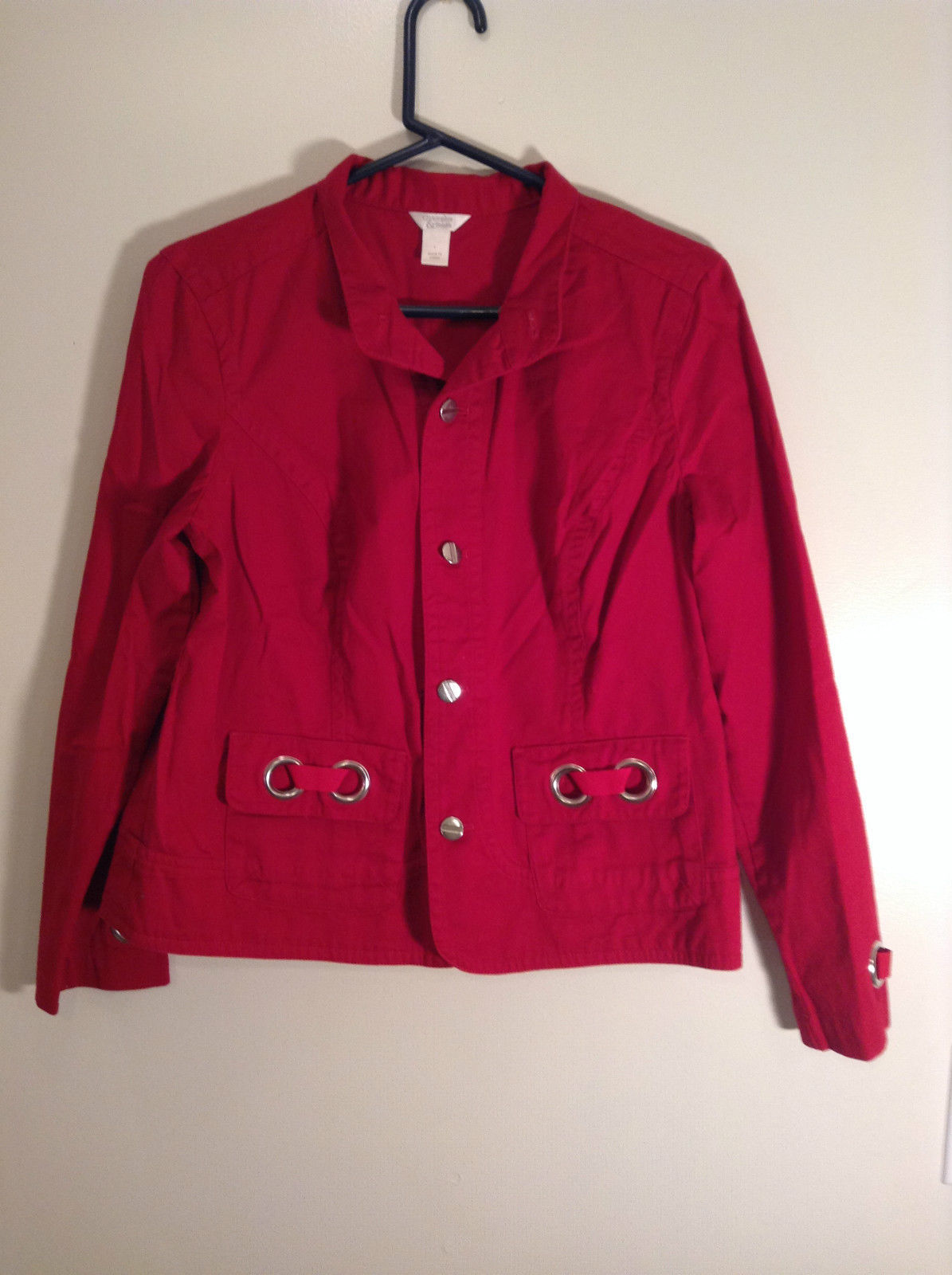 Christopher and Banks Red Long Sleeve Jacket Blazer Front Pockets Size Large