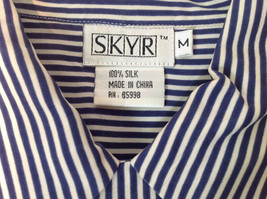 Blue and White Striped Button Down Collared Shirt SKYR 1 Front Pocket Size M image 4