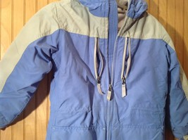 Blue and White Lands End Winter Lined Coat with Hood Size Small 7 to 8 image 4