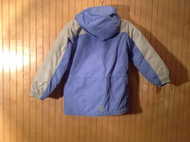 Blue and White Lands End Winter Lined Coat with Hood Size Small 7 to 8 image 5