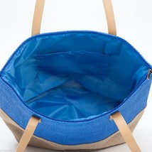 Blue color Block tote Summer with Jute image 3
