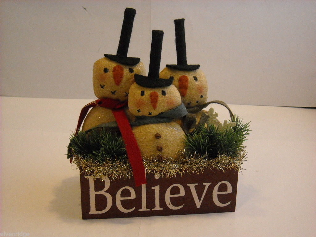 "Christmas Decorative ""Believe"" Snowman Box"