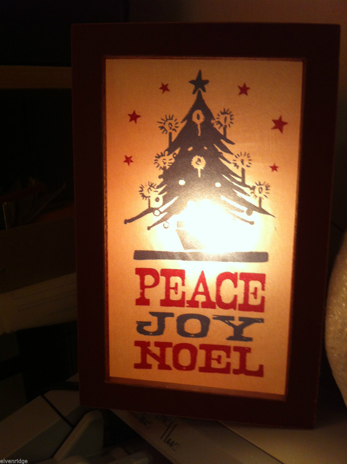 "Christmas Decor Lighted Box ""Peace Joy Noel"""