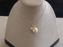 Christian Cross prayer faith necklace with fresh water pearls on gold necklace