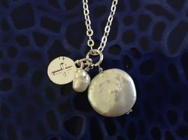 Christian Cross prayer faith necklace w fresh water pearls on silver necklace