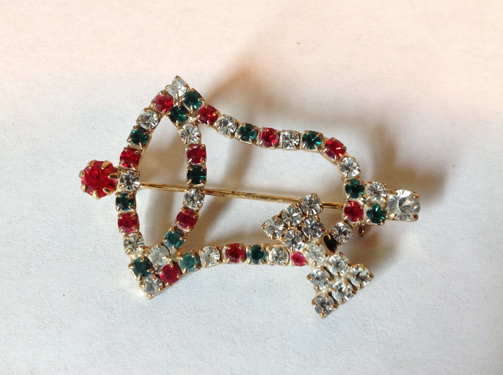 Christmas Bell with Bow Holiday Pin Brooch Red Green White Crystals Gold Tone