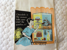 Chocolate is answer who cares about question Cotton kitchen Towel USA made image 1