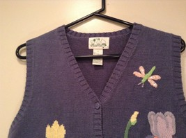 Blue with Pink Yellow Violet Flowers Embroidery Knitted Vest The Quacker Factory image 3