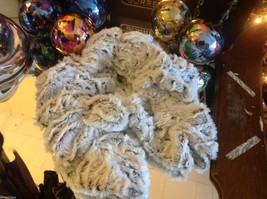 Choice of colors white gray marble faux fur twistie scarf with easy fasten loop