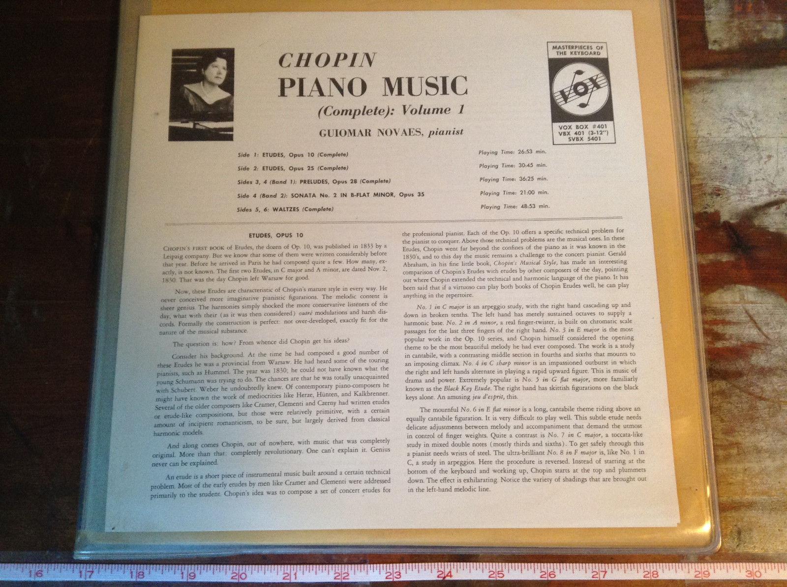 Chopin Piano Music Complete Volume 1 Pianist Guiomar Novaes Three Vinyl Records