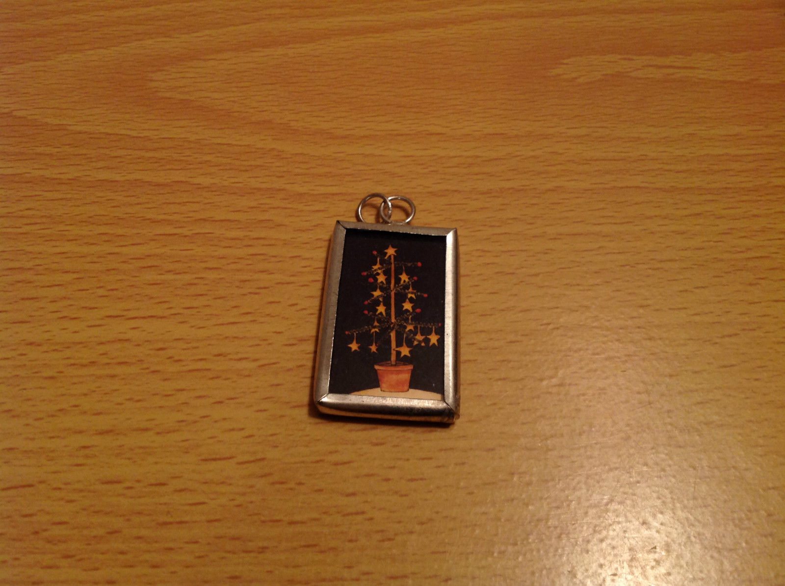 Christmas Tree Metal and Glass Tag Charm Present Tie On Reversible Versatile