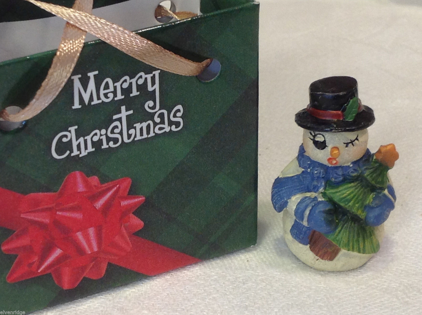 Christmas bag Snowman w pine tree #2 perfect gift 4 shut ins elderly person