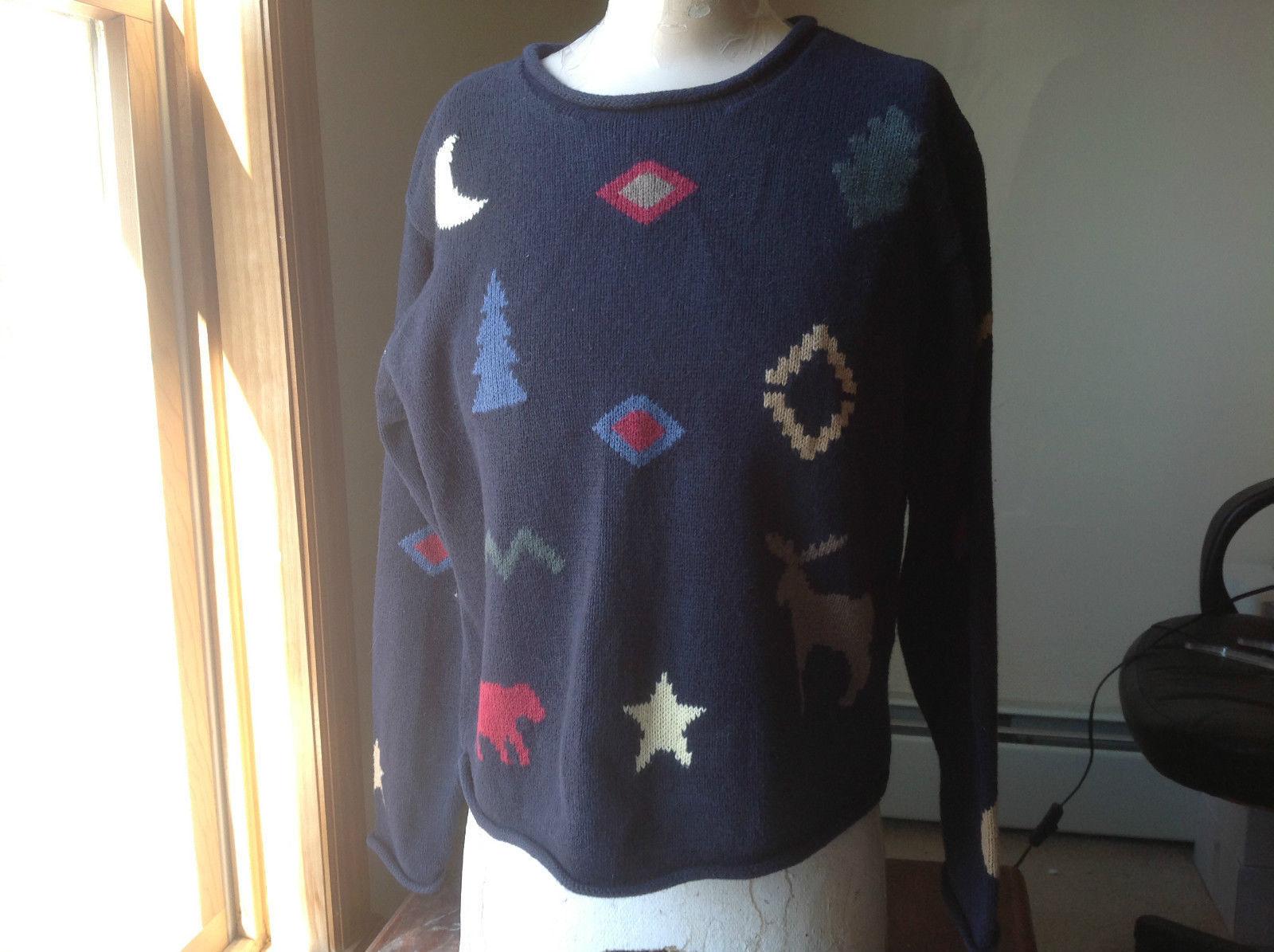 Christoper & Banks Dark Blue Patterned Knit Sweater Rolled Seams Size Medium