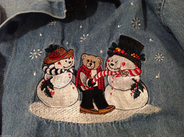 Bobbie Brooks Holiday Snowman Embroidery Blue Jeans Shirt Top Size 14W/16W image 10