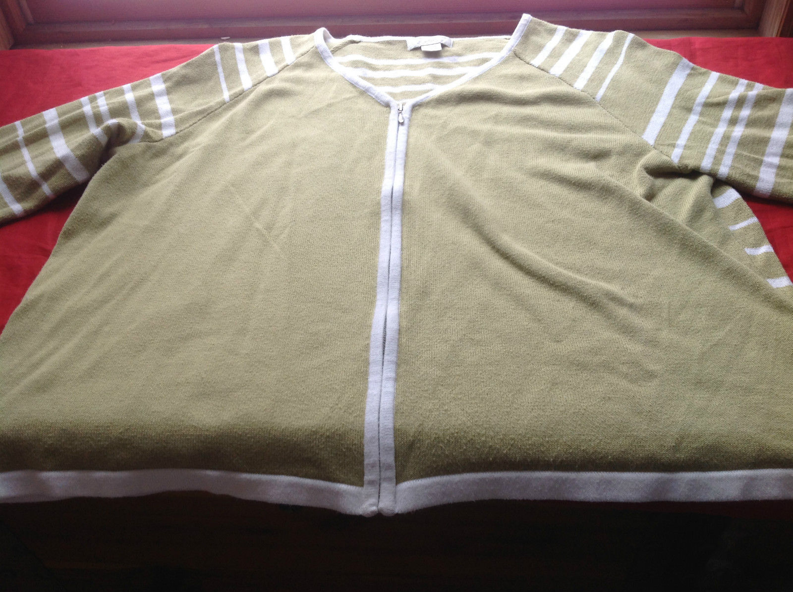Christopher & Banks Lime/White Long Sleeve Sweater Full Zipper Closure Size XL
