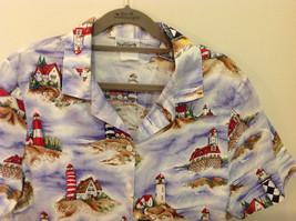 Bon Worth Mens light house pattern short sleeve casual shirt, NO size tag image 2
