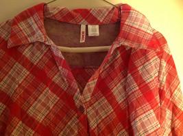 Bongo Red Plaid Button Purple Lace Upper Back Shirt V-Neckline Size Large image 4