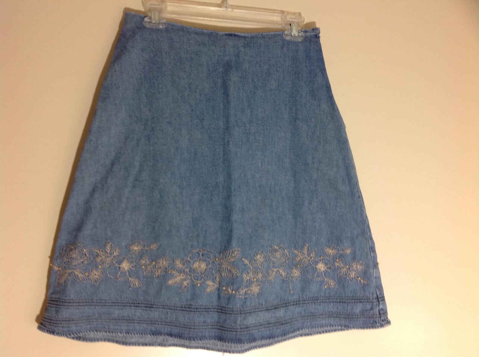 Christopher & Banks Jean Flower Embellished Mid Length Skirt Size 6