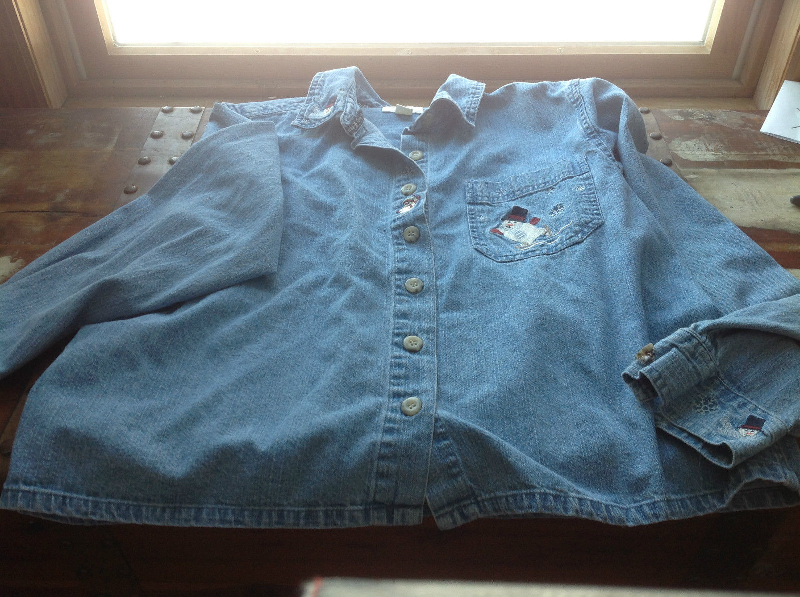 Christopher & Banks Long Sleeve Denim Shirt Snowman on Front Pocket Size L