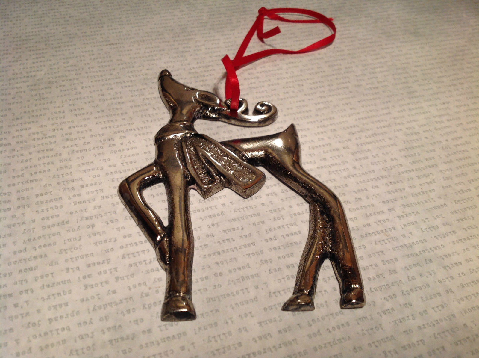 Chromed Brass Reindeer Ornament Red Ribbon Attached for Hanging