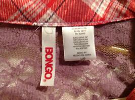 Bongo Red Plaid Button Purple Lace Upper Back Shirt V-Neckline Size Large image 8